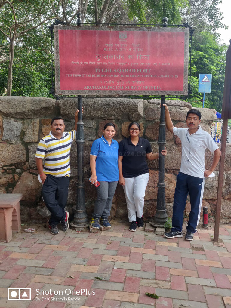 Author Dr K Sharmila Reddy with her friends at Tughlaqabad- the Third city of Medieval Delhi