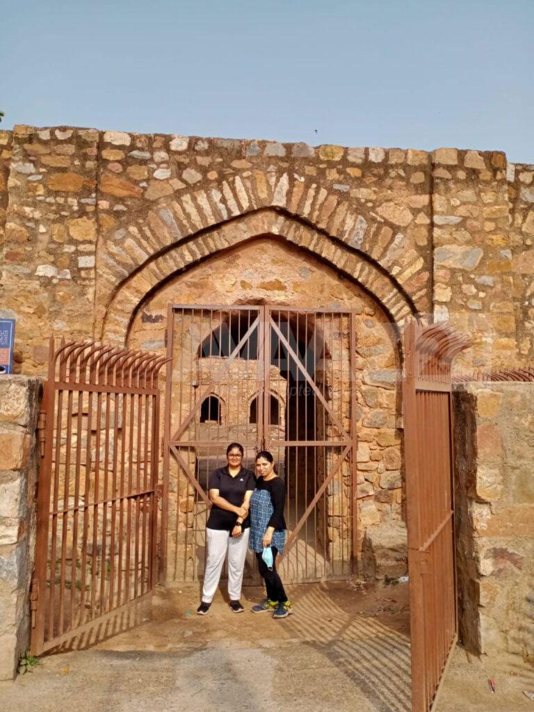 Author with her friend at Serai Shahji Mahal