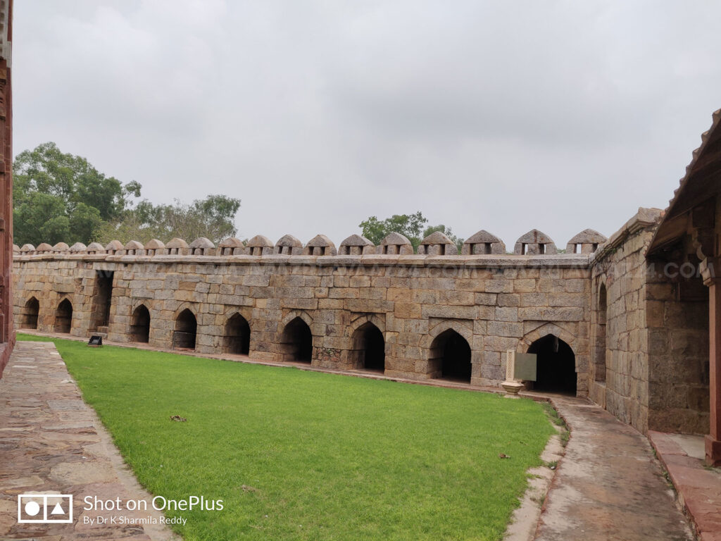 The courtyard with fortified walls
