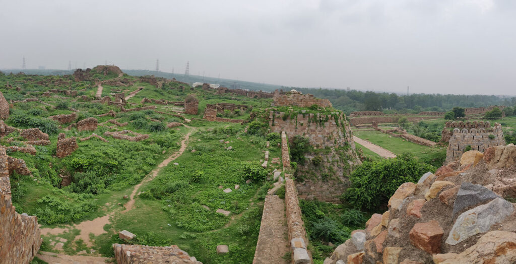 Panoramic view of ruins of Tughlaqabad Fort