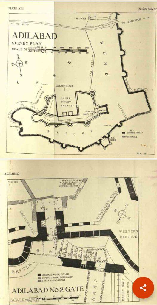 Adilabad Fort- site plan from Adilabad- A part of 'fourth' Delhi by Hilary Waddington
