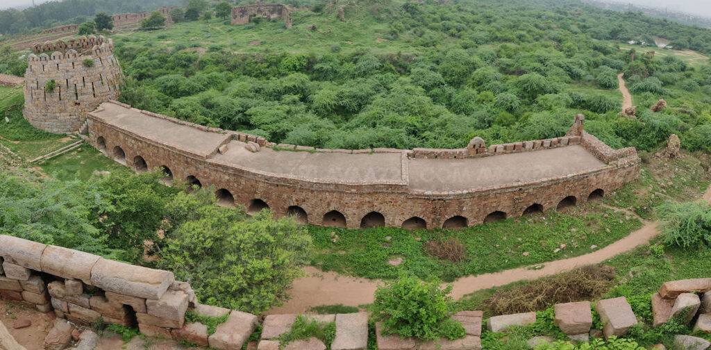 An Intact circular bastion and a true arched arcade wing - Panoramic view