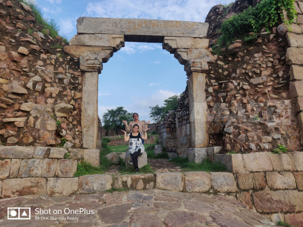 Author Dr K Sharmila Reddy with her friend at the Trabeate arched entrance