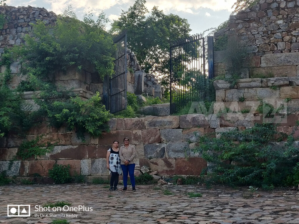 Author Dr K Sharmila Reddy with her friend at the south east gate- notice the height of the gate- there may have been a wooden stair to climb it.