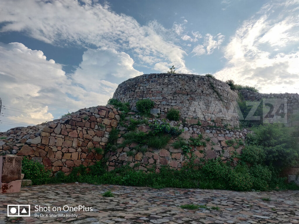 Huge rocky bastions of Adilabad Fort are similar to the Tughlaqabad Fort