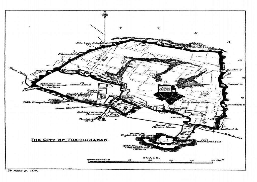 Ground Plan of City of Tughlaqabad - A rare Pic from The Seven Cities of Delhi by Gordon Risley Hearn (1906)