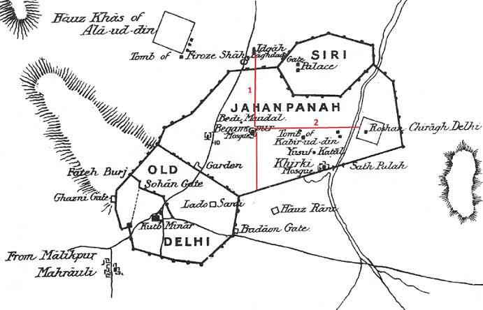 "the layout of 4th city of medieval Delhi –""Jahanpanah""- connecting Old Delhi (Qila Rai Pithora) and Siri"