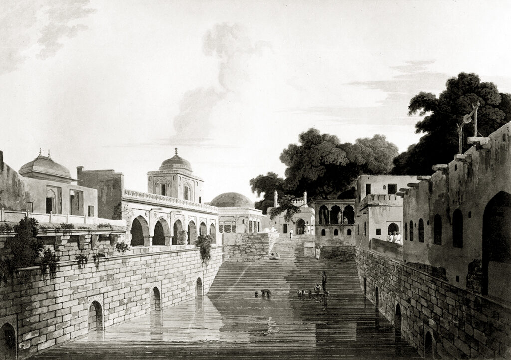a rare painting of Nizam-ud-din's Baoli with steps at southern end