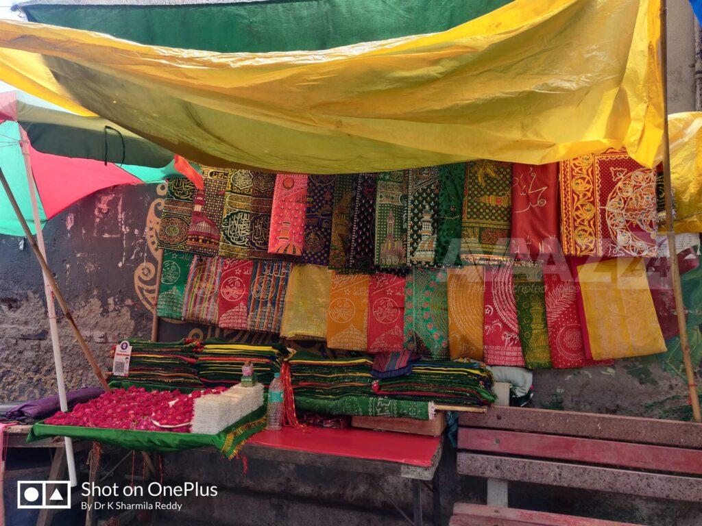 Shops around the Dargah selling Chaadar