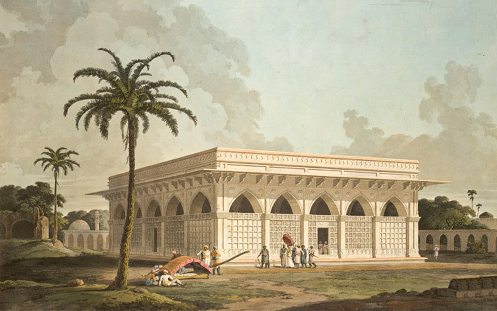 Chausath Khamba- Painting by William Daniell, R.A. (1801) from British Library